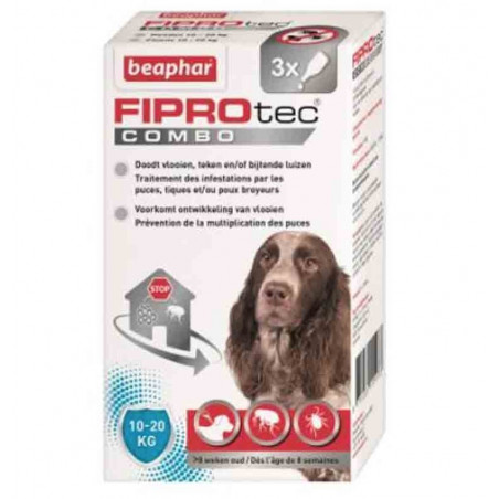 FIPROTEC COMBO MOYENS CHIENS - BEAPHAR 3 PIPETTES