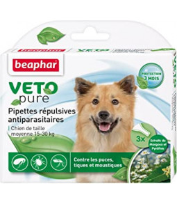 Pipettes PUCES/TIQUES 3x Chiens Vetopure - Beaphar