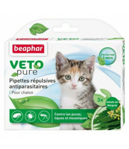 Pipettes PUCES/TIQUES 3 pipettes Chats/Chatons Vetopure - Beaphar